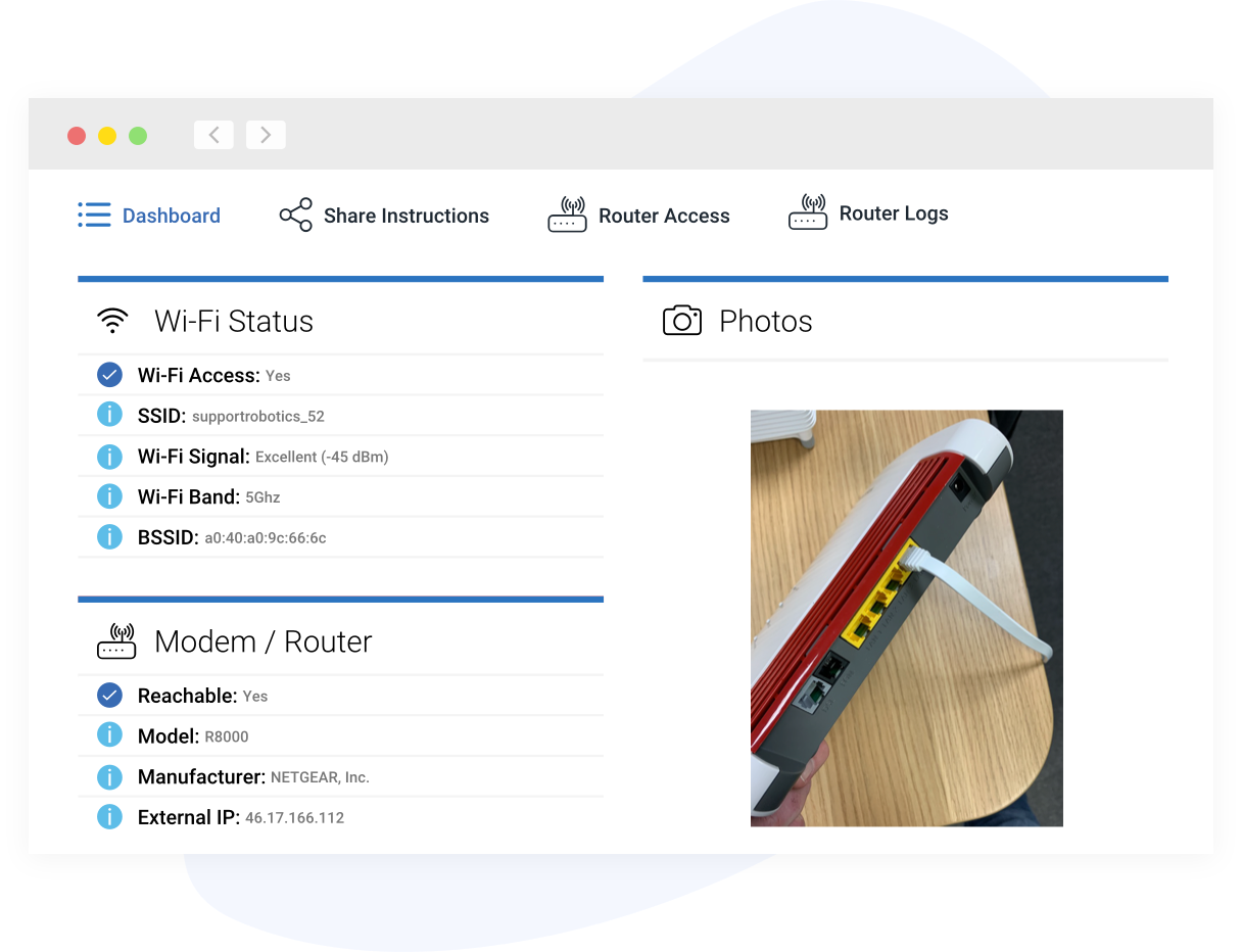 View of ISP Wi-Fi diagnostics tool features